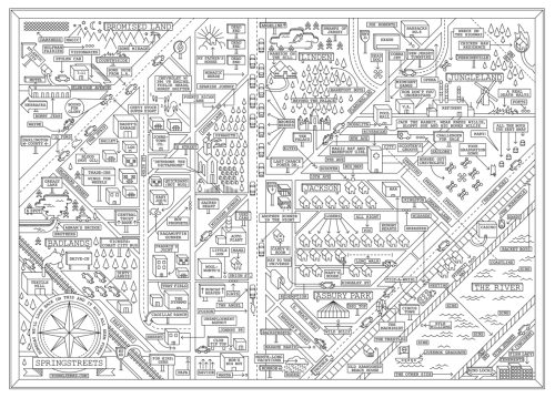 lolawasthecat:  Springstreets: A map of New Jersey (sort of) according to Bruce Springsteen. (click for bigger image)