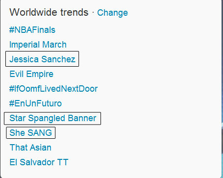 "Worldwide trending topics on Twitter just seconds after Jessica Sanchez SANG Star Spangled Banner: ""Jessica Sanchez"", ""Star Spangled Banner"" and ""she SANG"" ♥ I, along with the whole world was simply AMAZED.I think ""That Asian"" is about her too, kind of racist though. Haha"