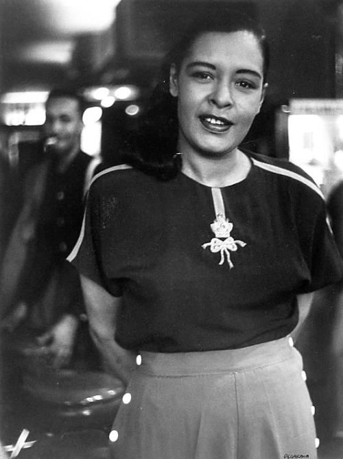 vintageblack2:  Billie Holiday photographed by Roy DeCarava in 1952