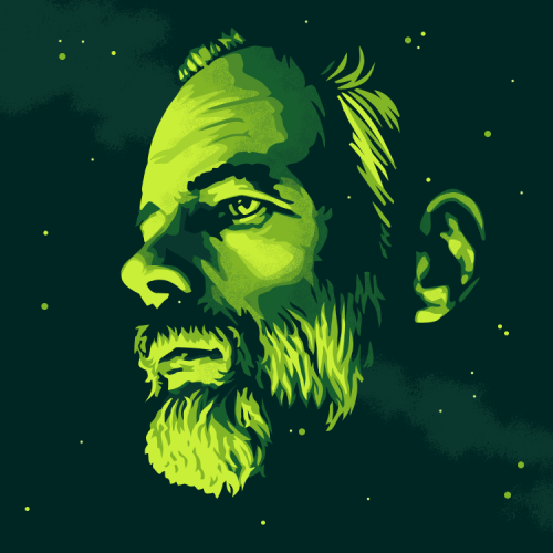 bestreadamerican:  New portrait. American author Philip K. Dick. Recommended reading: Ubik, A Scanner Darkly and Do Androids Dream of Electric Sheep?
