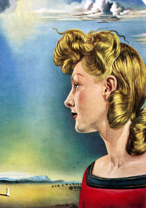Detail of Girl in Love by Salvador Dali for DeBeers, 1953 ad