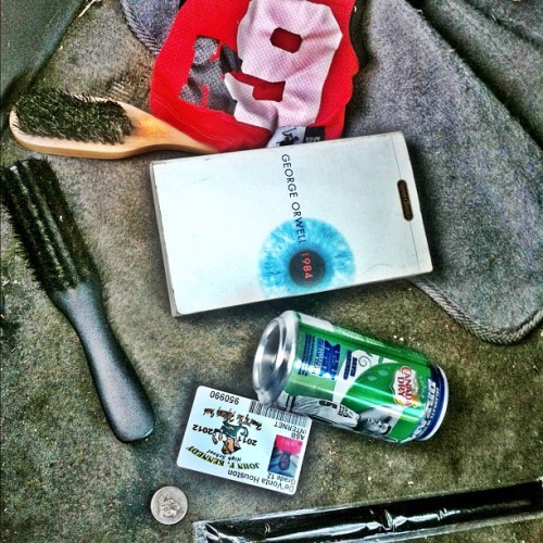 Random things I found in my car #Dog #jersey #Melted #Icepop #Book #Soda 2#Brushes and my school ID  (Taken with Instagram)
