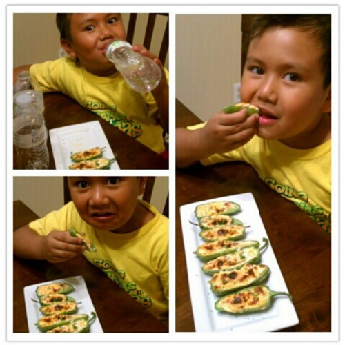 "My son is brave, eating these stuffed jalapenos! He tells me, "" Dad, I want to be in eating Jalapenos challenge!"" Lmfao! #picoftheday #foodshare #foodshare #food #spicy #bestoftheday #brave #son #challenge #appetizers #jalapenos (Taken with Instagram)"