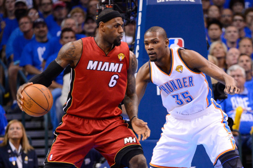 nba:  June 12, 2012 - NBA Finals Game 1: Miami Heat at Oklahoma City Thunder. (Photo by Ronald Martinez/Getty Images)