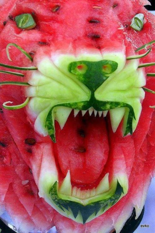 ohmyasian:  2717. Tiger Watermelon. Play with your food.