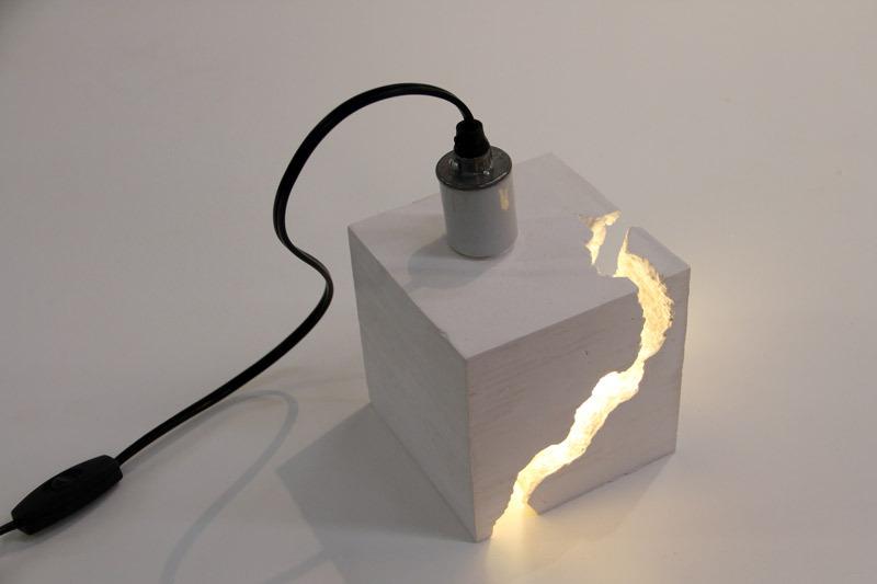 "Cast Light by snarkitecture2011LED light bulb, white gypsum cement5"" x 5"" x 5"" (H x W x D)"