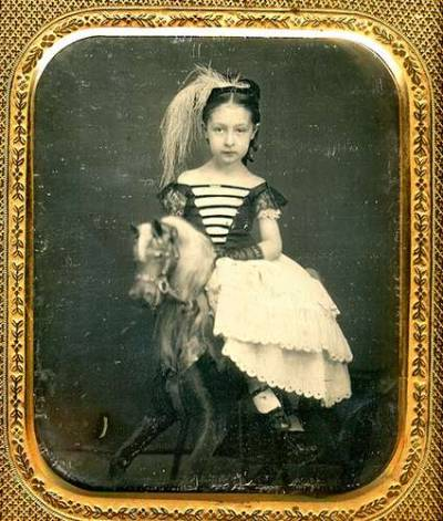 Beautiful Daguerreotype of a Little Girl on a Horse Rocker