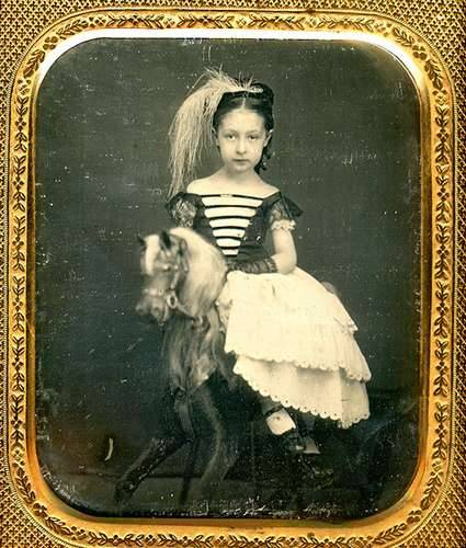 maudelynn:  Beautiful Daguerreotype of a Little Girl on a Rocking Horse.