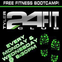 Tyler 24Fit Club' Great time at Boot Camp !! Ya'll join us — it's FREE and ya don't have to be a member of any gym to come !! Everything is outside on the Rose Rudman Trail !!! We meet on the very last elevated bridge  next to the Woodcreek parking lot =)  —-Kelley♥