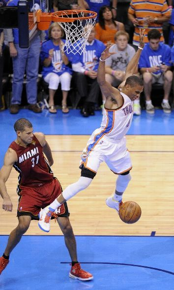 sportspage:  The Oklahoma City Thunder beat the Miami Heat in game 1 of the NBA Finals by a score of 105-94. (Photo by Bill Baptist /NBAE via Getty Images) As we wait for game 2 will you caption this photo?