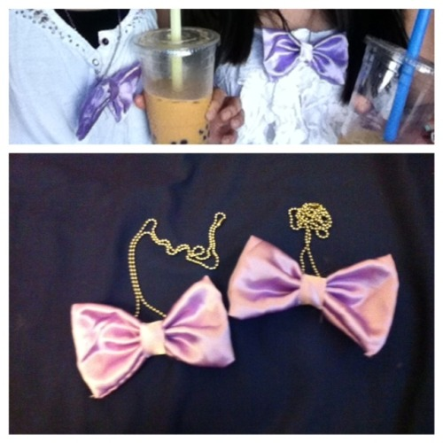 hand sewn bow necklaces