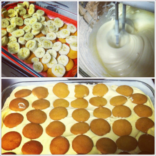 kelsey-t:  Nanner Puddin I made this Sunday night and between the two of us it's already gone! -5 to 6 bananas sliced -1 box of Nilla Wafers -2 boxes of French vanilla pudding mix -1 can of sweetened condensed milk -3 cups of milk -tub of cool whip -8oz cream cheese Layer bottom of 9x13 pan with half of a box of Nilla wafers. Next add all if the sliced bananas. Mix pudding mix and milk. In a separate bowl mix cream cheese and condensed milk until smooth. Fold cool whip into cream cheese mixture then add to pudding mix. Pour over bananas and add the remaining wafers. Keep in the fridge.