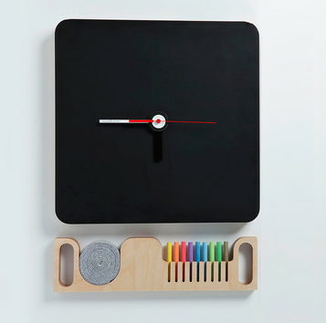Blackboard Clock, by Diamantini & Domeniconi What's not to like about this? It's a never-ending art project, disguised as a clock. I'm sold.