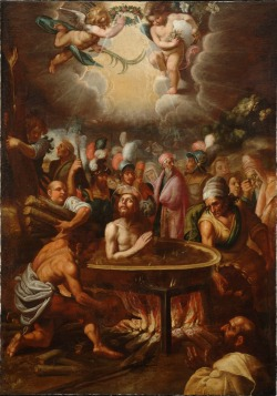 spanishbaroqueart:  Juan de Roelas The Martyrdom of Saint John the Evangelist  According to Tertullian, as quoted by Saint Jerome, in year 92, St John the Evangelist survived martyrdom at Rome under the Emperor Domitian by being immersed in a vat of boiling oil, from which he emerged unharmed. He was later exiled to island of Patmos. This event was traditionally said to have occurred at the Latin Gate, located on the southern portion of the Roman wall.