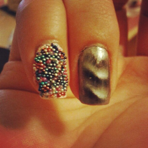 Ciate caviar bead manicure, magnetic nail polish on the right (Taken with Instagram)