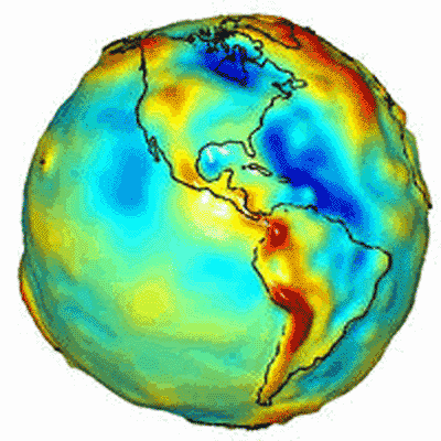 sagansense:  GRACE Maps the Gravity of Earth Credit: GeoForschungsZentrum Potsdam, CSR U. Texas, JPL, NASA Explanation: Why do some places on Earth have higher gravity than others? Sometimes the reason is unknown. To help better understand the Earth's surface, slight distance changes between a pair of identically orbiting satellites named GRACE have been used to create the best ever map of Earth's gravitational field. High points on this map, also colored red, indicate areas where gravity is slightly stronger than usual, while in blue areas gravity is slightly weaker. Many bumps and valleys on the map can be attributed to surface features, such as the North Mid-Atlantic Ridge and the Himalayan Mountains, but others cannot, and so might relate to unusually high or low sub-surface densities. Maps like this also help calibrate changes in the Earth's surface including variable ocean currents and the melting of glaciers.