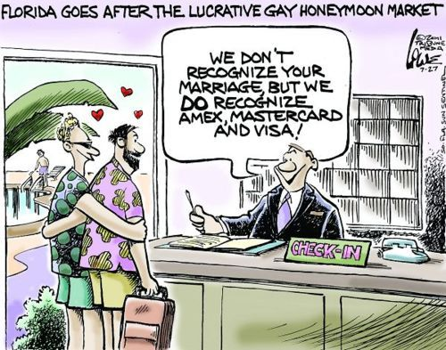 "LGBTQ* Political Cartoons ""Welcome To Florida, Home of False Advertising"""
