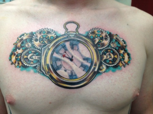 fuckyeahtattoos:  The famous H4 chronometer created/finished by John Harrison in 1761.  Awesome history.  11 hours total and finally finished.  The picture doesn't do it justice.  Designed and inked by Colbey Joyce at Black Hive Tattoo in Jacksonville, FL.