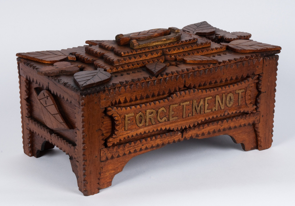 'Forget Me Not' Tramp Art Remembrance Box PA, USA 1890 -1910