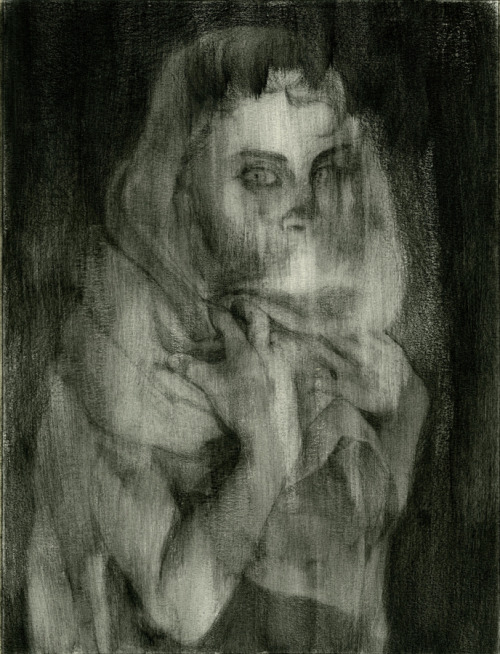 raddishh:  Experimental technique- clear gesso over graphite sketch.