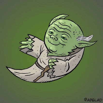 Yoda in the form of the 'old' Twitter logo.