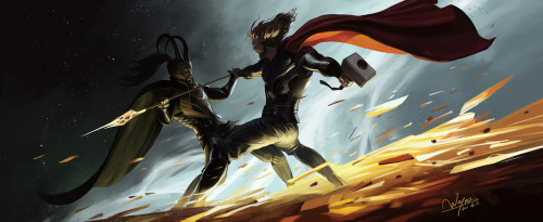 lunaghost: Thor: CEASE, BROTHER! Enough of this! I do not wish to fight! Loki: Such sentiment! It's too late for that!