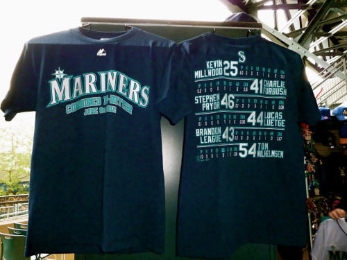 The Mariners combined no-hitter T-shirt, now available at the Safeco Field Team Store.
