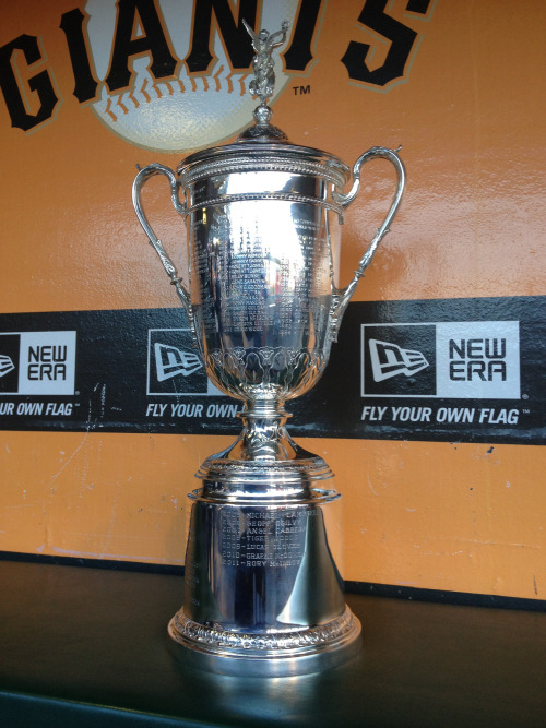 sfgiants:  The U.S. Open Trophy displayed in the Giants dugout.