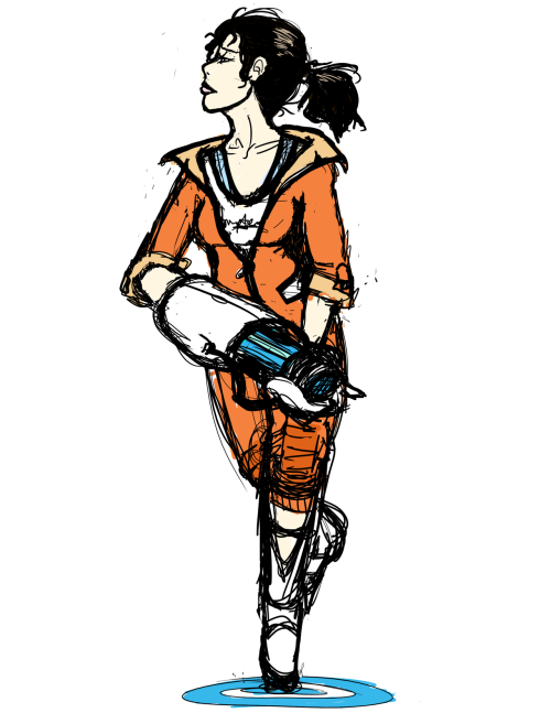 Another quick messy crappy sketch of Chell. I wanted to mix the Chell from Portal 1 and Chell from Portal 2 a bit.
