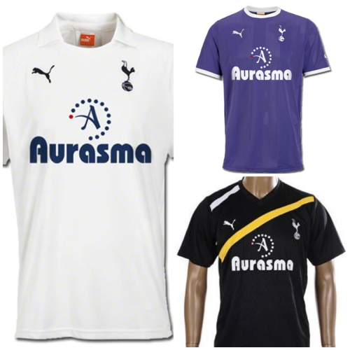 2011-2012 Tottenham Hotspur Home, Away, and Third Away jerseys and shorts.  $75 (no name, no number). $80 (with name and number).  Size: S, M, L, XL