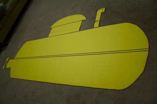 Cut out a yellow submarine that is part of our summer theme for work! <3D