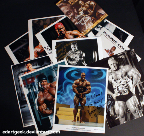 Since I'm a bodybuilding fan I've gotten some autographs over the years. Here are some of the autographs that I've gotten from pro bodybuilders.