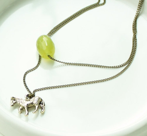 Olive green quartz and tiny horse necklace