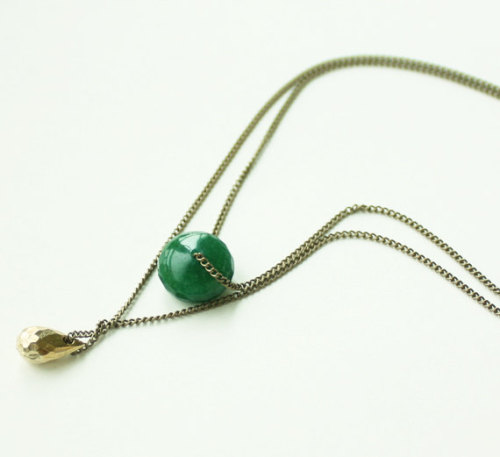 Green donut stone and tiny tear drop necklace
