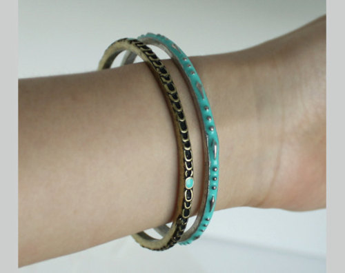 Turquoise color bangles, Mixed Metal Bracelet