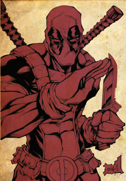 Deadpool illustration by Javier Avila. July, 2011.