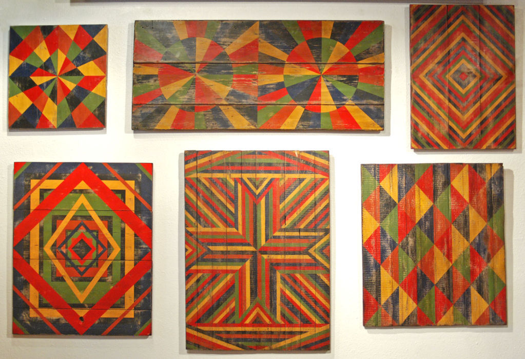 miss-mary-quite-contrary:  Anonymous Abstract Geometric Painted Board found in Texas. American 20th Century This is a  collection of boards from an anonymous artist who painted on recycled cupboard doors, floor boards, table tops and stools.