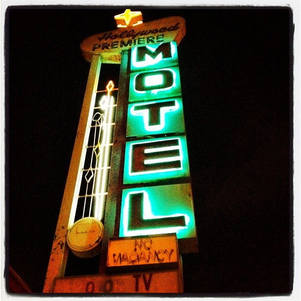 Hollywood Premier - #losangeles #la #hollywood #neon #night #motel #sign (Taken with Instagram)