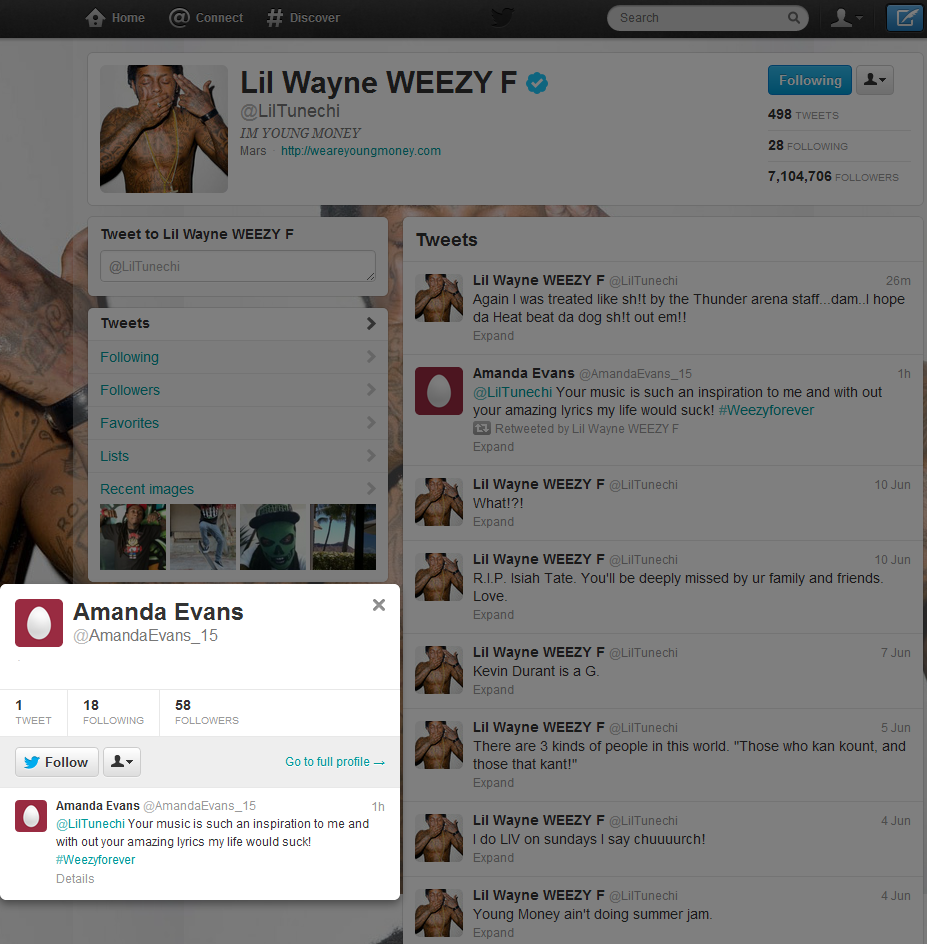 Lil Wayne Has Fake Fans He Re-Tweets.