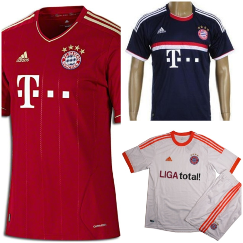 2011-2012 Bayern Munich Home and Away jerseys and shorts and also the 2012-2013 Bayern Munich Away jersey and shorts.  $75 (no name, no number). $80 (with name and number).  Size: S, M, L, XL