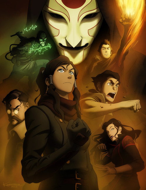 bryankonietzko:  Here is the final press art I did for the upcoming 1-hour finale of The Legend of Korra, which airs on Saturday, June 23. Thanks for all of the kind words and support as I posted some of the in-progress elements along the way. I was sick and exhausted through most of the process, so the positive vibes were more than welcome. Amon's mask received a minor nose job since I posted that layer last week: he has less of the signature Konietzko schnoz now.  Oooh, Hiroshi Sato is coming back!