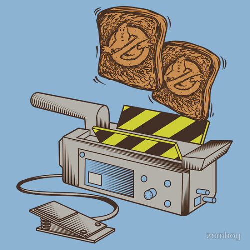 "tshirtroundup:  ""Toast Busters"" by Steve Harris. When your eggs are cooked but your bread is cold. Who ya gonna call? Toast Busters. Why shouldn't a highly dangerous electromagnetic machine used to catch specters and apparitions be used to cook breakfast? If it's good enough to cook a ghost, it's good enough to cook your toast. Ghostbusters meets breakfast in this mash-up. Available from BluebutterRedBubble."
