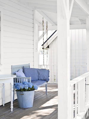 country white porch with a touch of hydrangea