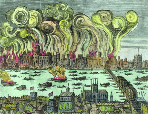 thestuartkings:    The Great Fire of London 1666 (woodcut, later colouration)       English School 17th Century