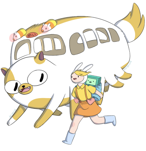 Adventure Time X Ghibli by David  THIS IS SO PERFECT. I CAN'T HANDLE MEIN FEELSSssss
