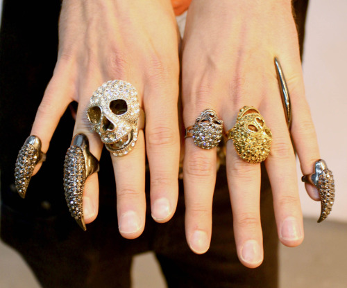 The haute gothic look still going strong with crystal encrusted skulls and claws at Graduate Fashion Week #WGSNatGFW.