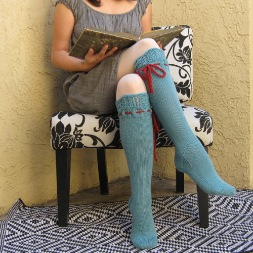 Knee High Socks Turquoise Lace with Red Ties hand knit price: $75.00 etsy (pinkcandystudio)