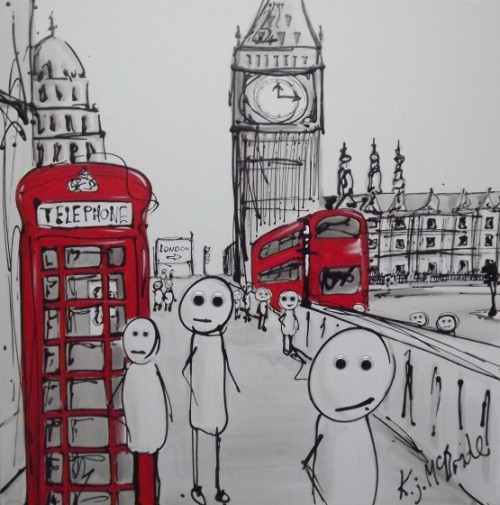 'Stick Men in London' by Keith McBride. Acrylic on canvas.