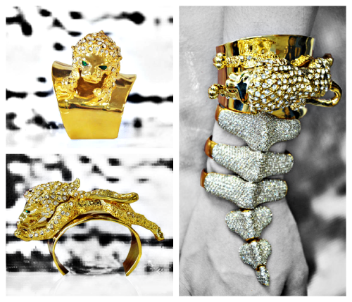 Exquisite Lioness Cuff Notes: Swarovski Embellishments / Figural Animal Jewelry / Plated Shiny Goldtone / Green Crystal Eyes / One Size Fits All