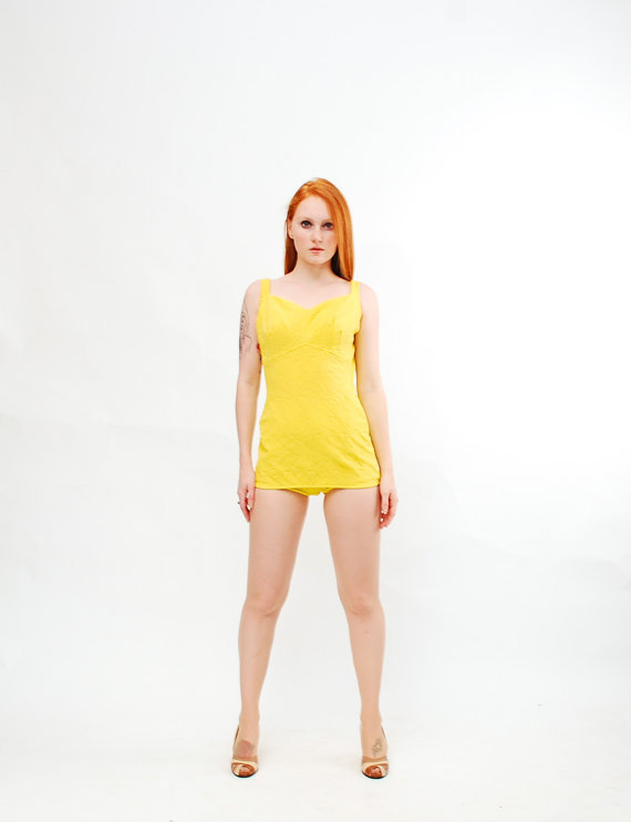 teaandcultfilms:  Vintage 1960s Swimsuit - 60s Maillot Bathing Suit - Lemon Yellow
